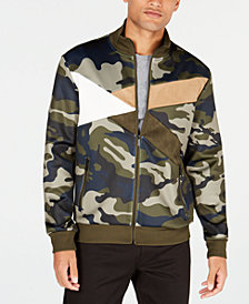 Sean John Mens Urban Camo Colorblocked Track Jacket