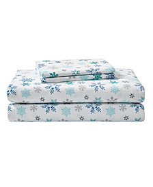 Eddie Bauer Tossed Snowflake Twin Medium Blue Sheet Set
