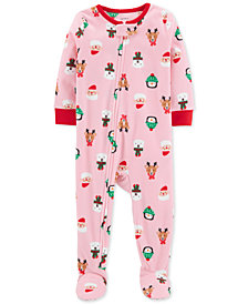 Carter's Toddler Girls Holiday-Print Fleeced Pajamas