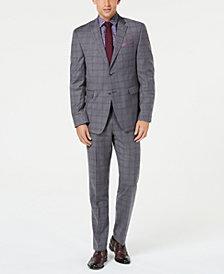 Original Penguin Men's Slim-Fit Stretch Gray/Maroon Windowpane Suit