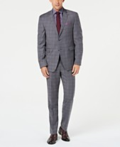 Original Penguin Men s Slim-Fit Stretch Gray Maroon Windowpane Suit c953cce1203
