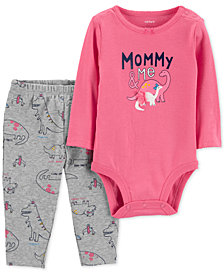 Carter's Baby Girls 2-Pc. Dinosaur Bodysuit & Pants Set