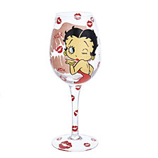 Kurt Adler 15 Oz. XOXO Betty Boop Wine Glass