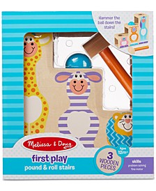 Melissa & Doug First Play Pound & Roll Stairs Wooden 3-Piece Hammer & Ball Toy