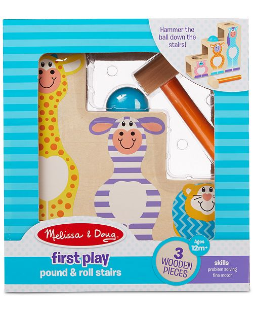 Melissa and Doug Melissa & Doug First Play Pound & Roll Stairs Wooden 3-Piece Hammer & Ball Toy