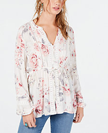 American Rag Juniors' Crochet-Trim Top, Created for Macy's
