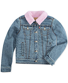 Levi's® Little Girls Faux-Sherpa Lined Denim Jacket