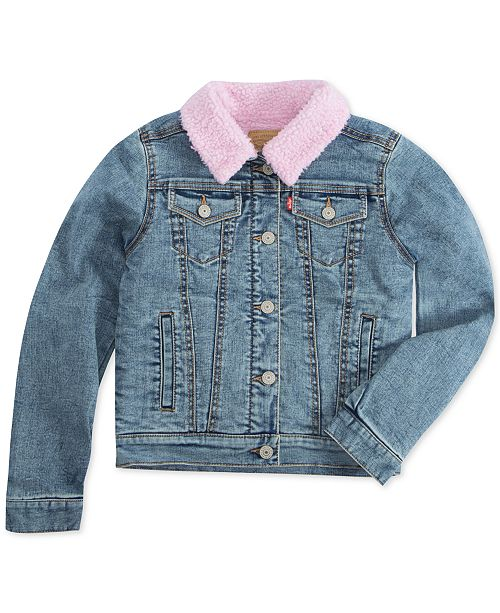 Levi's Little Girls Faux-Sherpa Lined Denim Jacket