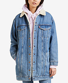 Levi's® Long Sherpa-Lined Trucker Jean Jacket