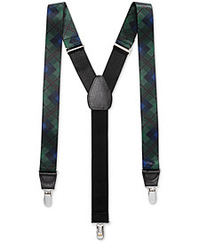 Club Room Men's Blackwatch Plaid Suspenders, Created for Macy's