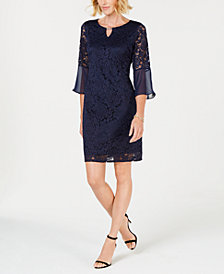 JM Collection Chiffon Lace Sheath Dress, Created for Macy's