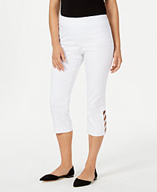 JM Collection Lattice-Hem Pull-On Capris, Created for Macy's