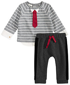 First Impressions Baby Boys 2-Pc. Striped Necktie T-Shirt & Pants, Created for Macy's