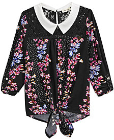 Monteau Big Girls Tie-Front Lace-Trim Shirt