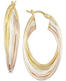 Simone I. Smith Tricolor Multi-Ring Hoop Earrings in Sterling Silver and 18k Gold & Rose Gold over Sterling Silver