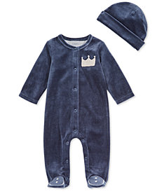 First Impressions Baby Boys 2-Pc. Velour Crown Footed Coverall & Hat Set, Created for Macy's