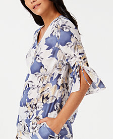 JM Collection Printed Zip-Neck Ruched-Sleeve Blouse, Created for Macy's