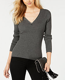 I.N.C. Zipper Embellished Sweater, Created for Macy's