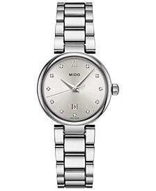 Women's Swiss Baroncelli II Donna Diamond-Accent Stainless Steel Bracelet Watch 29mm