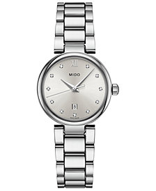 Mido Women's Swiss Baroncelli II Donna Diamond-Accent Stainless Steel Bracelet Watch 29mm