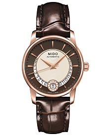 Mido Women's Swiss Automatic Baroncelli Diamond-Accent Brown Leather Strap Watch 33mm