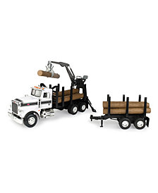 Big Farm Peterbilt Model 367 Logging Truck With Pup Trailer And Logs