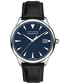 Movado Men's Swiss Automatic Heritage Calendomatic Black Leather Strap Watch 40mm