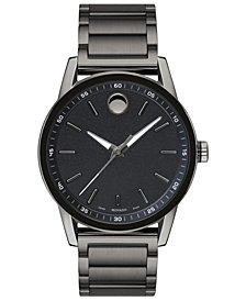 Movado Men's Swiss Modern Sport Gunmetal PVD Stainless Steel Bracelet Watch 42mm