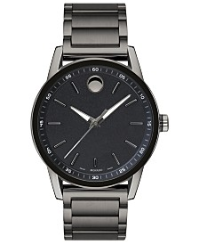 Movado Men's Swiss Modern Sport Gunmetal PVD Stainless Steel Bracelet Watch 42mm