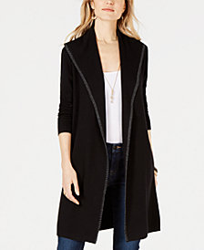 Style & Co Blanket-Stitch Trim Sweater Jacket, Created for Macy's