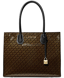 MICHAEL Michael Kors Mercer Glossy Signature Tote, Created for Macy's