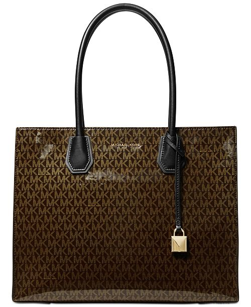 5e62516eb5b7 Michael Kors Mercer Glossy Signature Tote, Created for Macy's ...