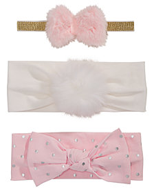 First Impressions Baby Girls 3-Pk. Bows & Faux-Fur Headbands, Created for Macy's