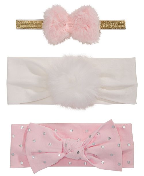 First Impressions Baby Girls 3-Pk. Bows   Faux-Fur Headbands ... 956d4d36078