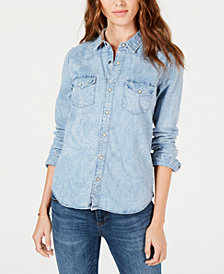Lucky Brand Cotton Printed Western Denim Shirt