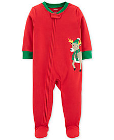 Carter's Baby Boys Reindeer Footed Fleece Pajamas