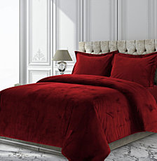 Venice Velvet Oversized Solid Queen Duvet Cover Set