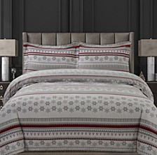 Holiday Print Flannel Oversized Queen Duvet Set
