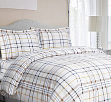 Modern Plaid Cotton Flannel Printed Oversized Queen Duvet Set