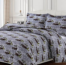 Winter Outing Cotton Flannel Printed Oversized Duvet Sets