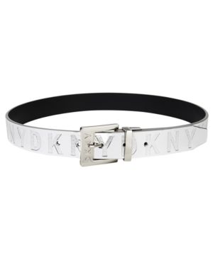 Patent Logo Reversible Belt, Created For Macy'S in Silver/Black