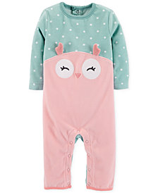 Carter's Baby Girls Dot-Print Owl Fleece Coverall