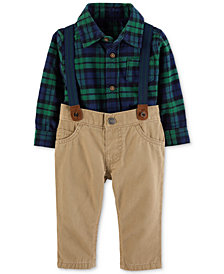 Carter's Baby Boys Plaid Cotton Bodysuit, Pants & Suspenders Set