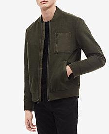 Calvin Klein Mens Mix-Media Bomber Jacket