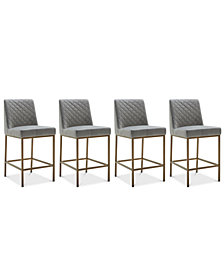 Cambridge Velvet Stool, 4-Pc. Set (4 Grey Counter Stools)