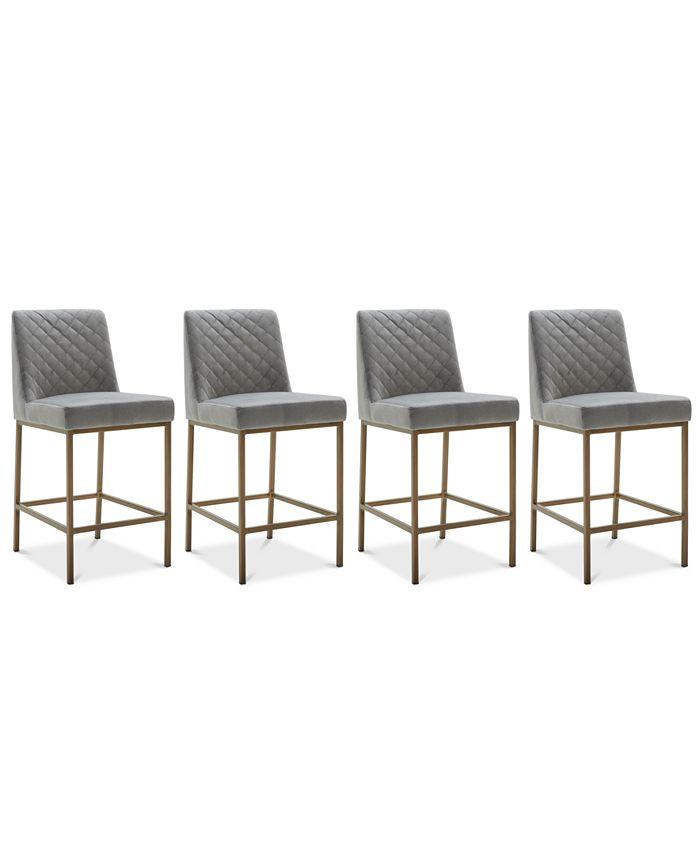 Furniture - Cambridge Velvet Stool, 4-Pc. Set (4 Grey Counter Stools)