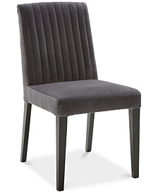 Elinor Velvet Dark Gray Channel Back Chair