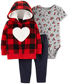 Carter's Baby Girls 3-Pc. Heart Hoodie, Floral-Print Bodysuit & Denim Pants Set