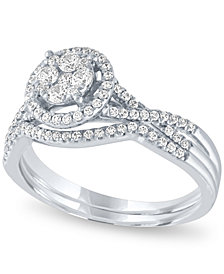 Diamond Halo Cluster Bridal Set (1/2 ct. t.w.) in 14k White Gold