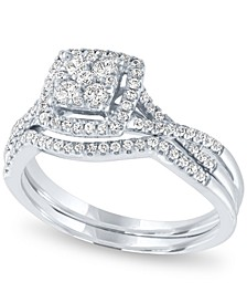 Diamond Square Halo Cluster Bridal Set (1/2 ct. t.w.) in 14k White Gold